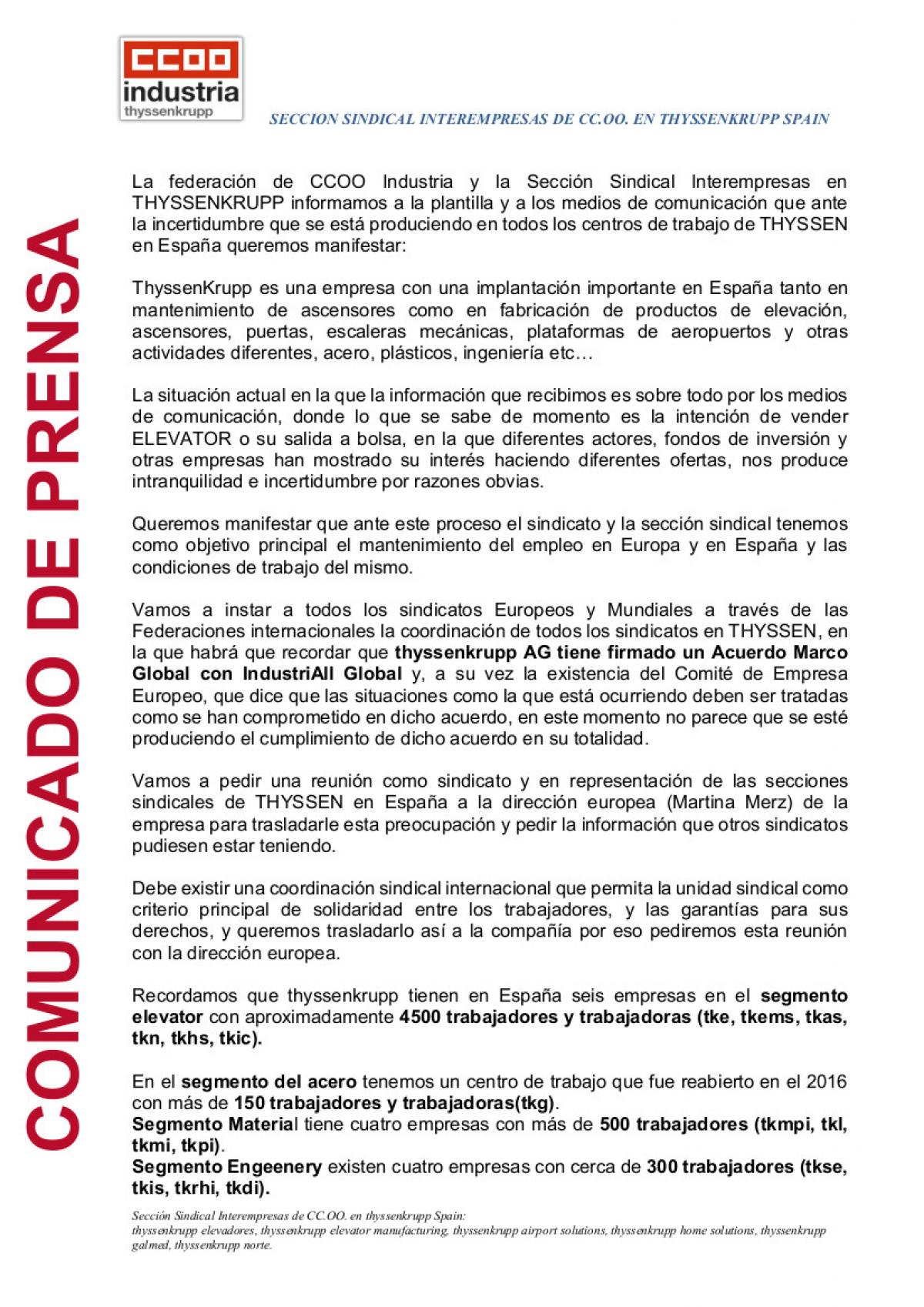 Comunicado de la SECCION SINDICAL INTEREMPRESAS DE CC.OO